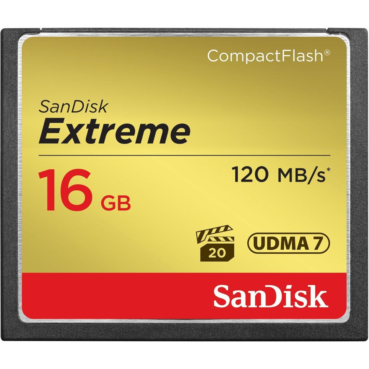 Cartão Compact Flash 16Gb SanDisk Extreme de 120mb/s 800x