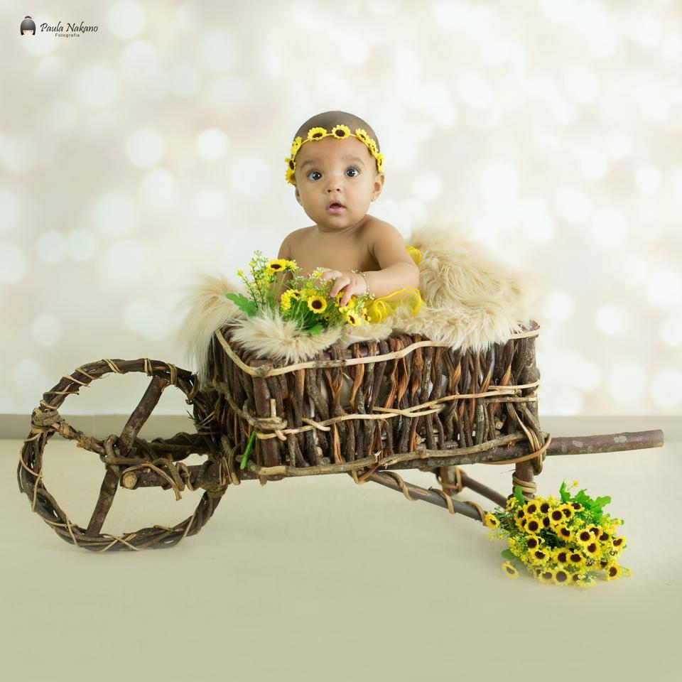 Carrinho de Cipó para Cenário Fotográfico Newborn