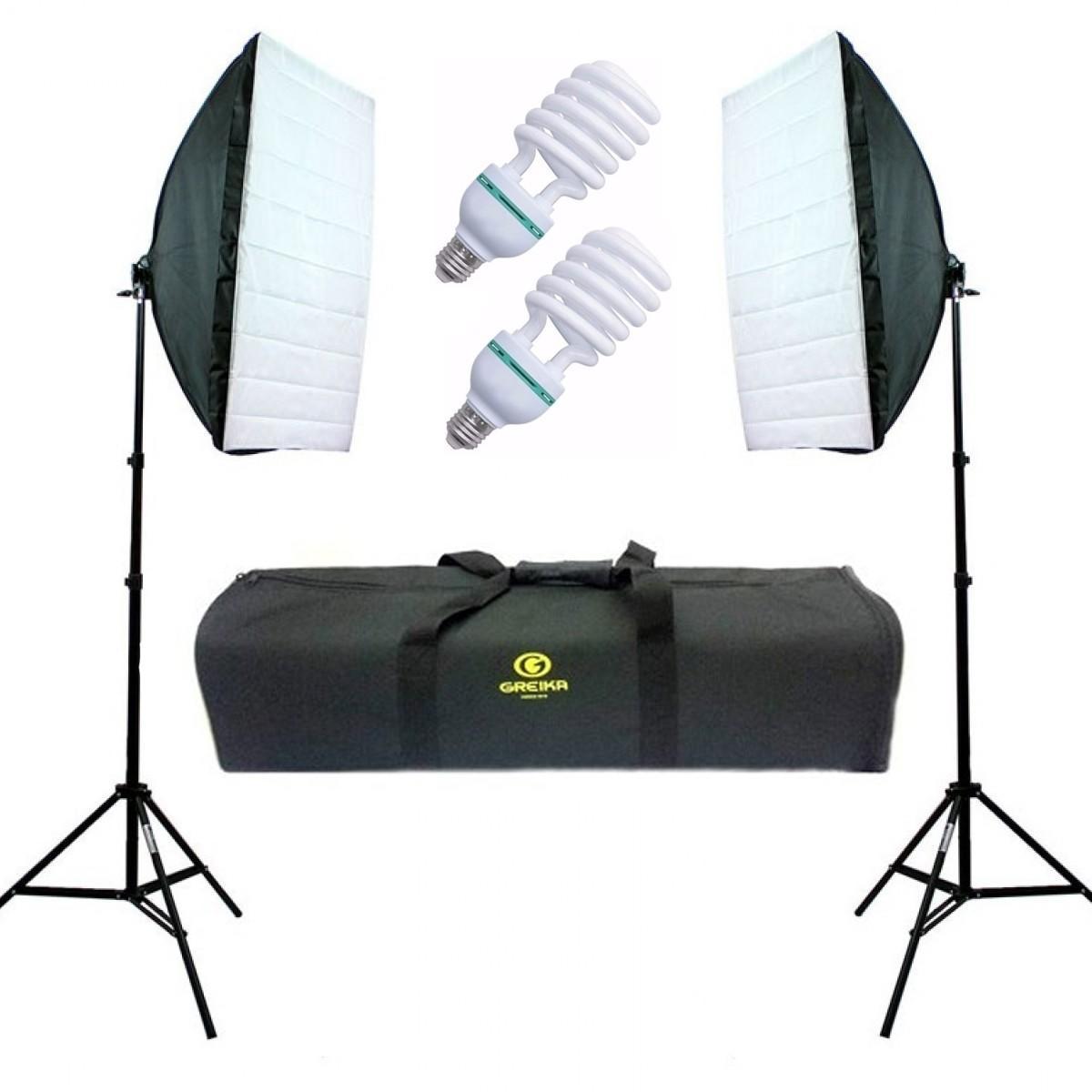 Kit Softbox 50x70cm de Iluminação para Estúdio Greika Ágata II (110V)