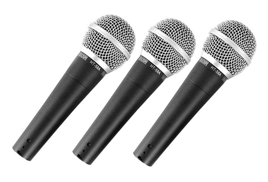 Kit com 3 Microfones de Mão Dinâmico CSR HT-58A-3 com Fio