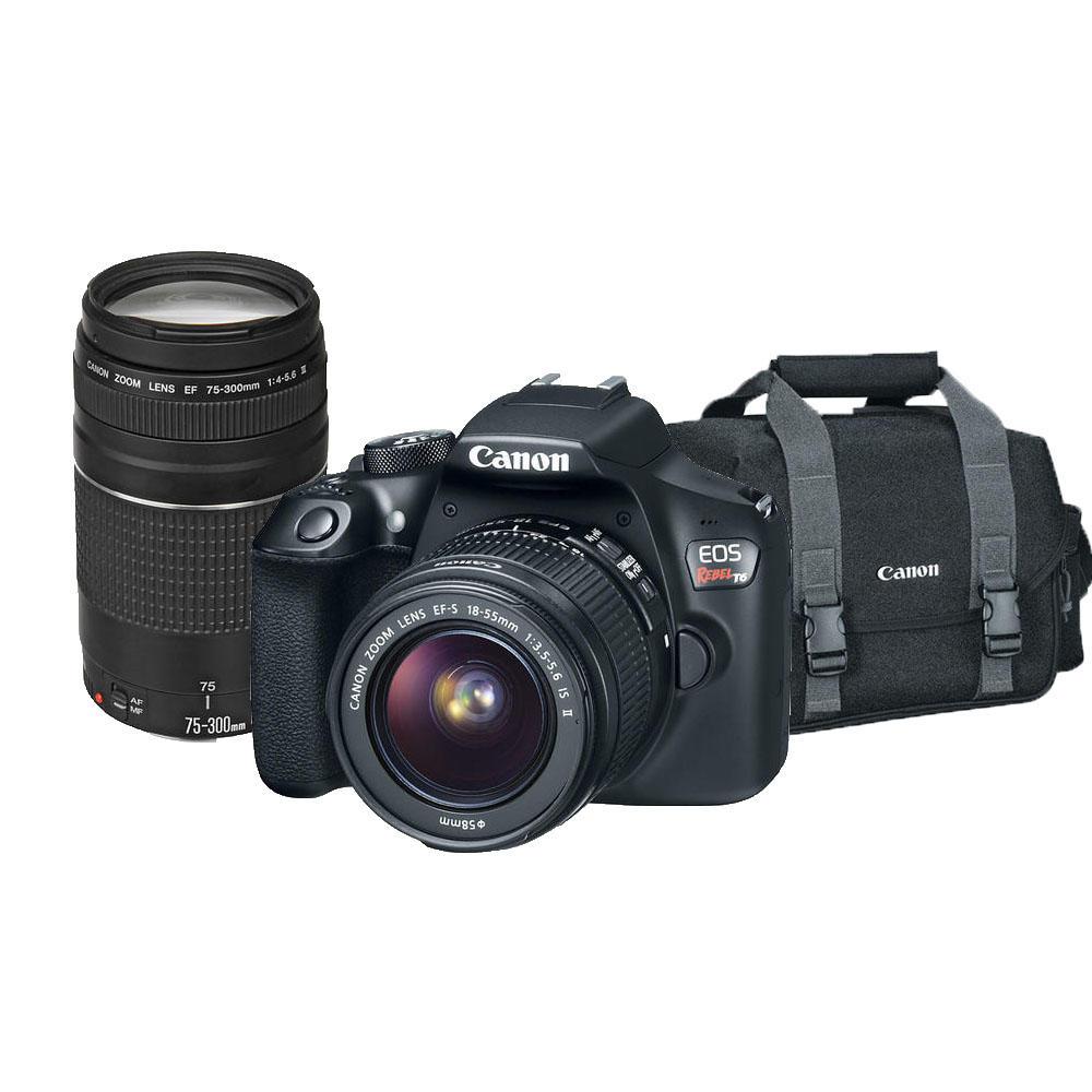 Kit Câmera Canon EOS T6 com Lente 18-55mm + Lente Canon EF 75-300mm e Bolsa Canon