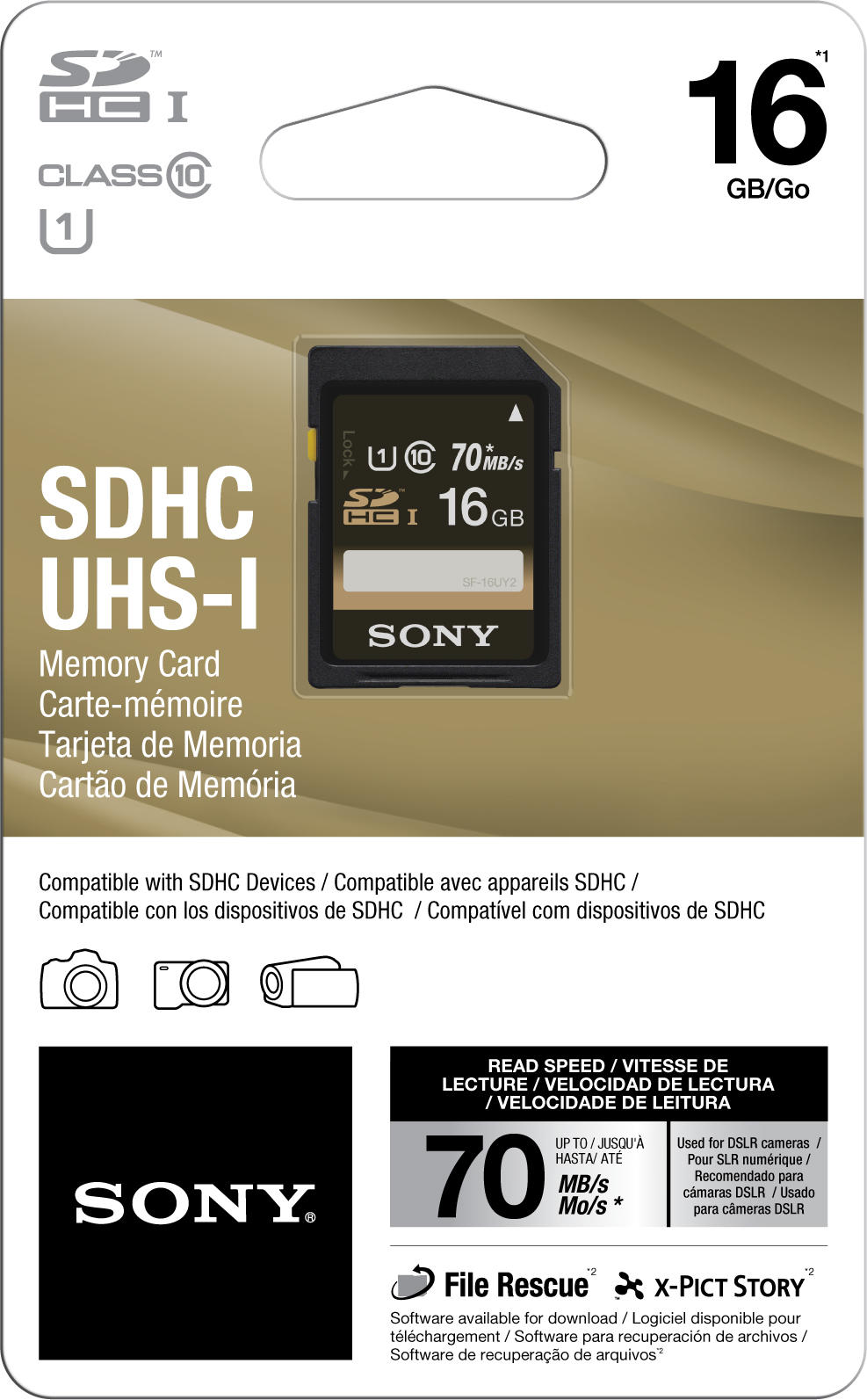 Cartão SDHC 16Gb Sony 70mb/s Classe 10 UHS-1