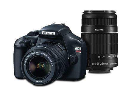 Kit Câmera Canon Rebel T5 com Lente 18-55mm III e Lente 55-250mm IS II