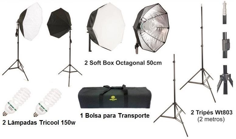 Kit Softbox 50cm de Iluminação para Estúdio Greika Ágata III (110V)
