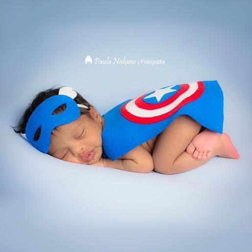 Conjunto Newborn Máscara e Capa de Herói - Capitão America