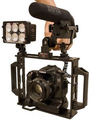 Gaiola para Câmera DSLR, Leds e Microfones