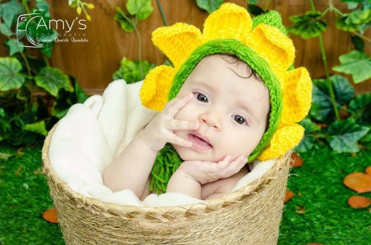 Gorro Flor de Lã para Fotografia Newborn
