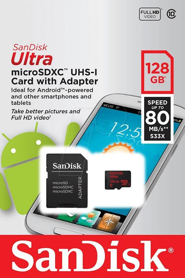 Cartão Micro SDXC 128GB Sandisk Ultra com Adaptador Classe 10 de 80Mb/s (533x)