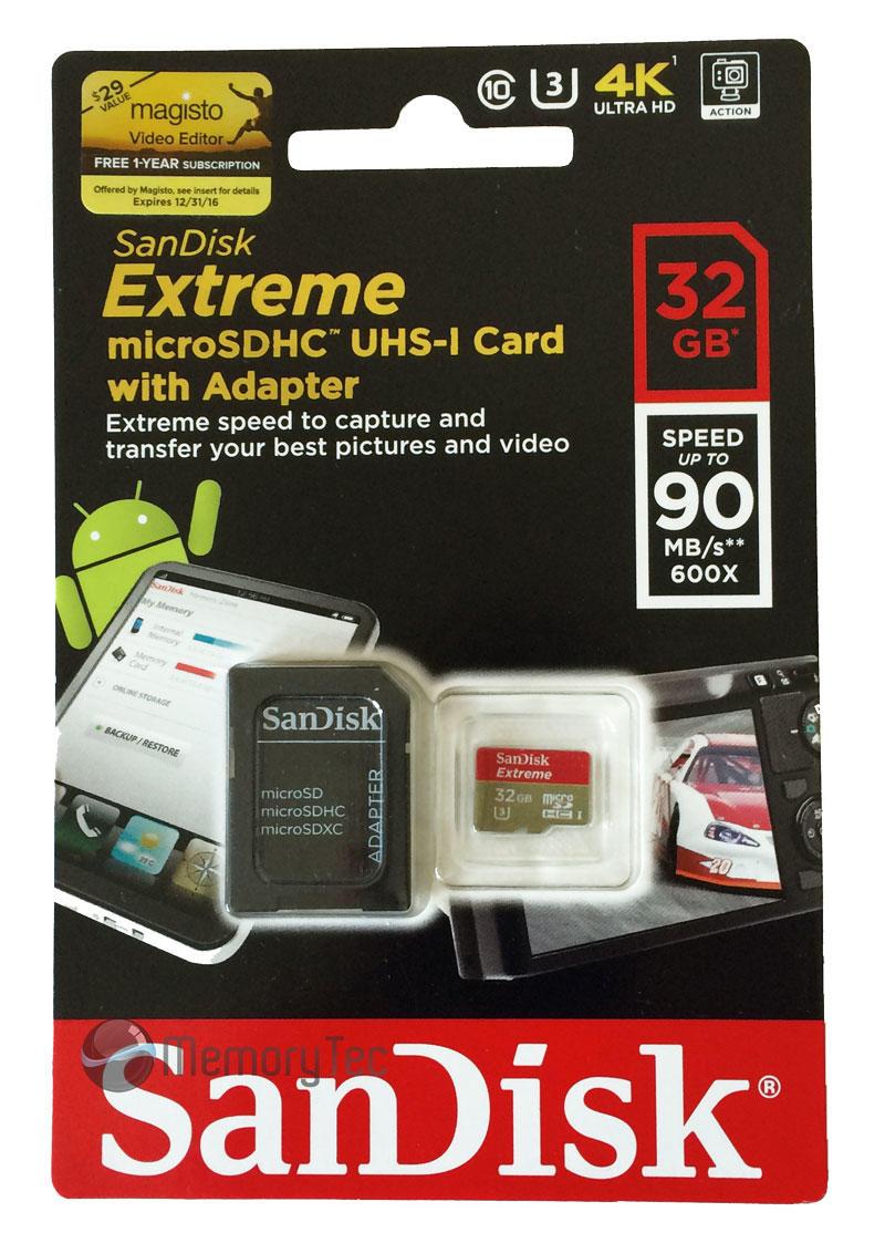 Cartão Micro SD 32GB SanDisk Extreme 90Mb/s Classe 10 4K Ultra HD e Full HD