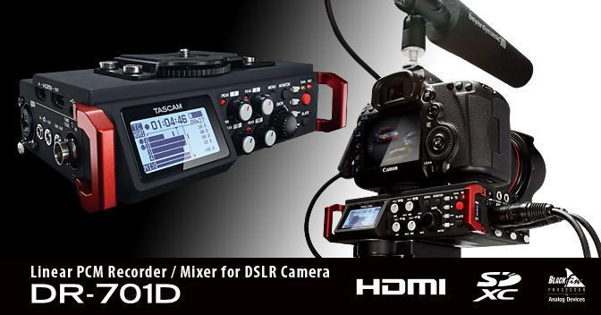 Gravador Tascam DR-701D para Câmeras DSLR